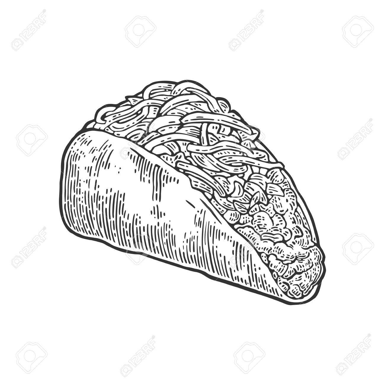 Tacos Cuisine Traditionnelle Mexicaine Vector Illustration