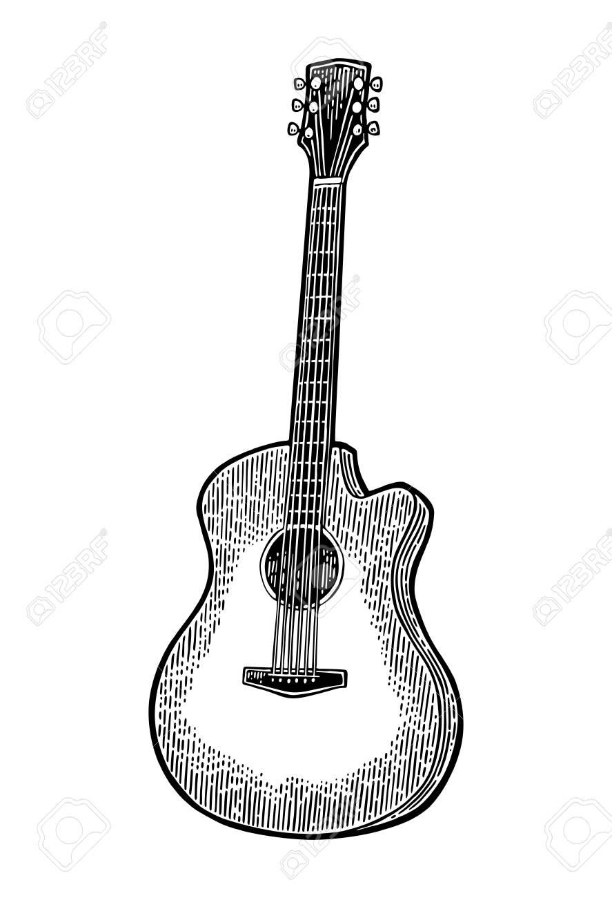 アコースティック ギタービンテージ ベクトル黒彫刻イラストのイラスト