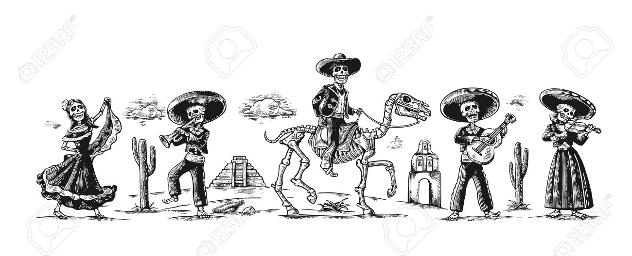 Day of the Dead, Dia de los Muertos. The skeleton in the Mexican national costumes dance, sing, play the guitar, violin, trumpet, rider on horse. - 77602448