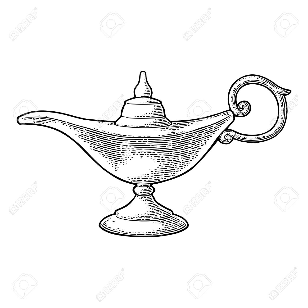 Aladdin magic metal lamp vector black vintage engraving illustration