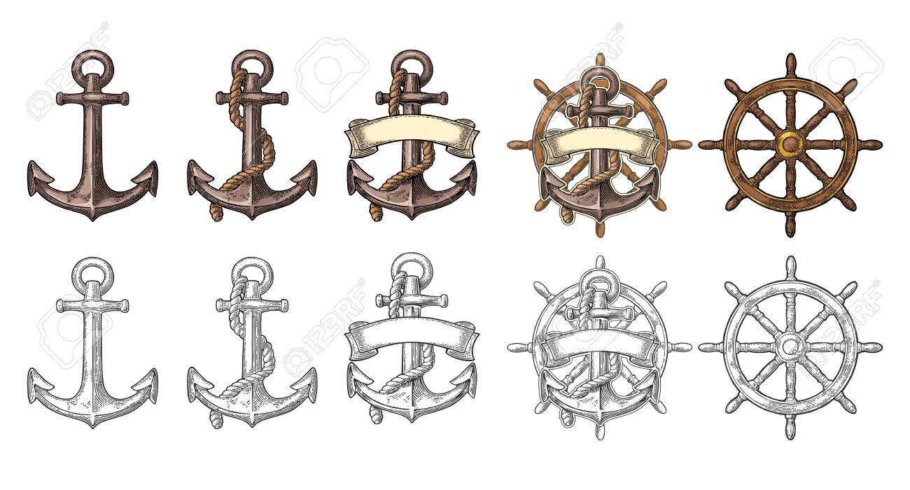 Anchor and wheel with ribbon isolated on beige background. - 80723503