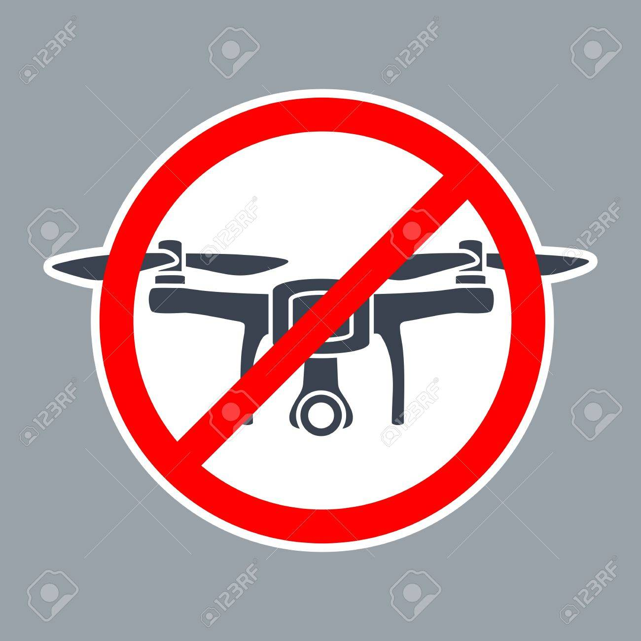 Road Prohibit Sign No Drone Zone Vector Simple Red And Black Illustration On White Background