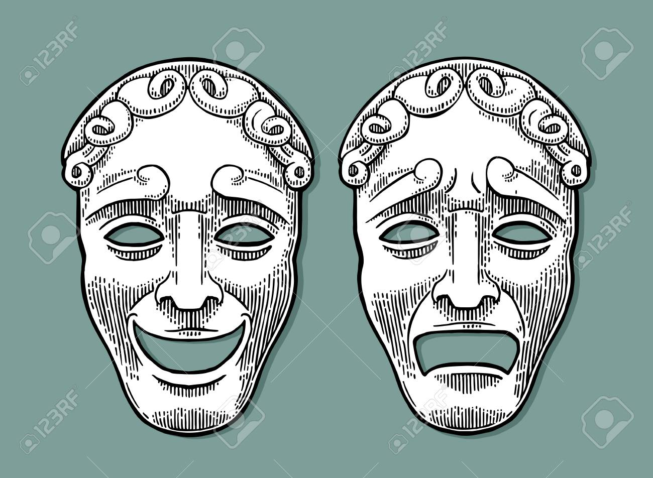 Comedy and tragedy theater masks. Vector engraving vintage black illustration. Isolated on turquoise background with shadow. - 83798940