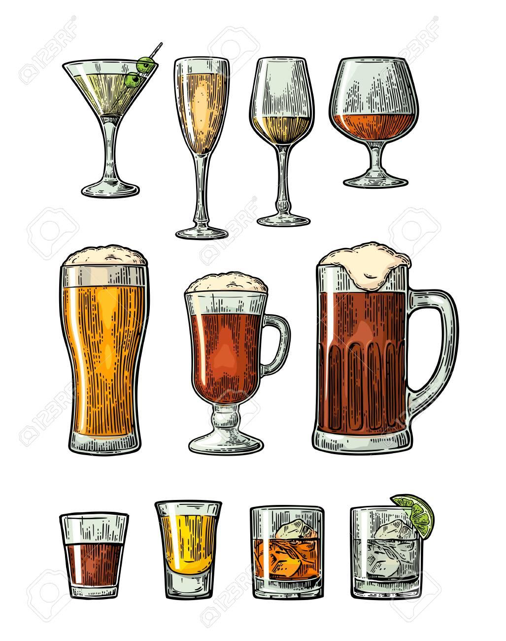 Joyeux anniversaire JLL35 86225004-set-verre-de-bi%C3%A8re-whisky-vin-gin-rhum-tequila-cognac-champagne-cocktail-illustration-vintage-de-coule