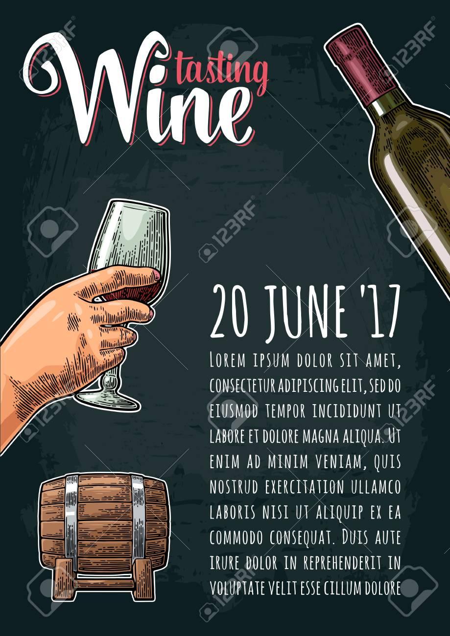Vertikales Plakat Weinprobe Schriftzug Hand Gezeichnete Skizze