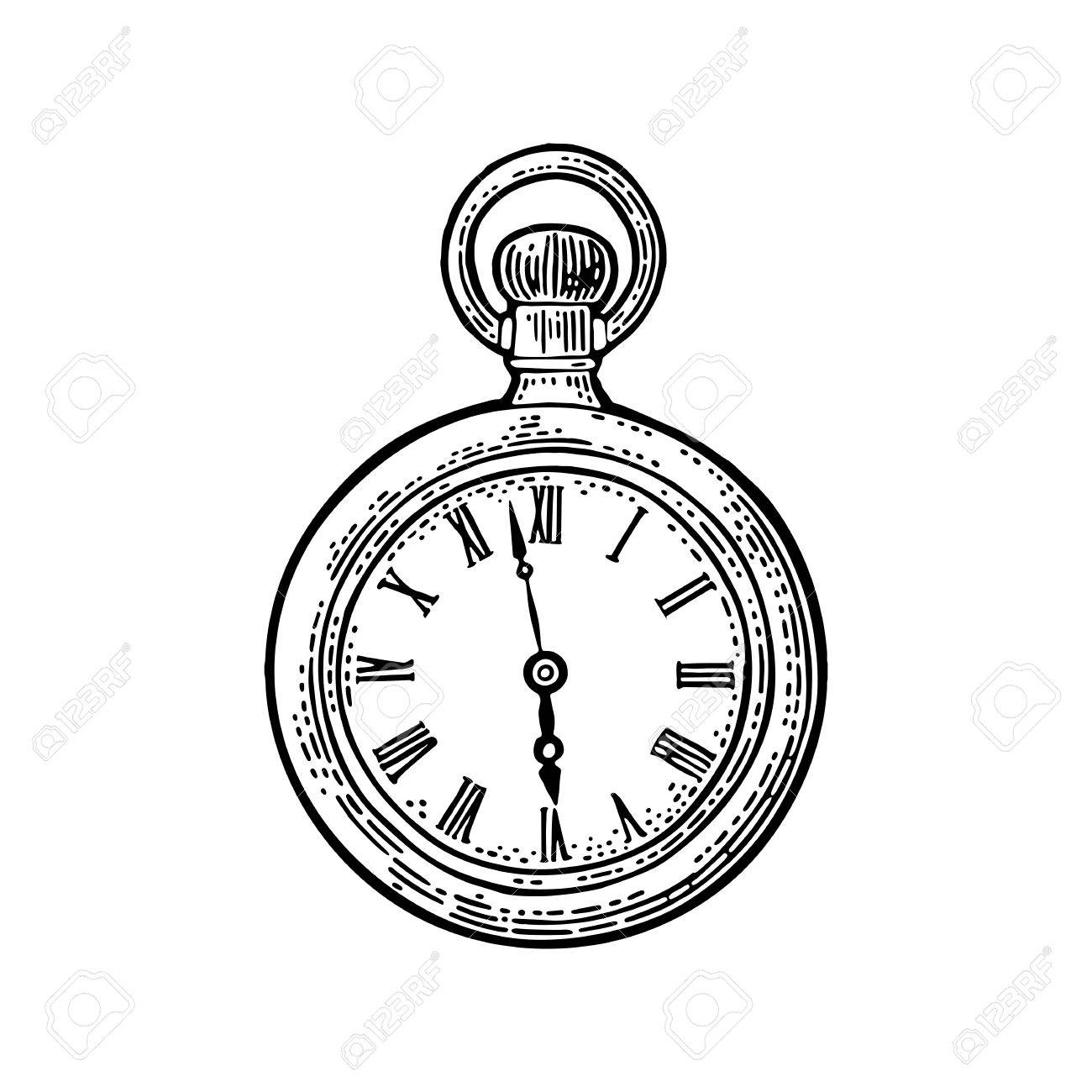 Antique pocket watch. Vintage vector black engraving illustration for info graphic, poster, web. Isolated on white background. - 86381088