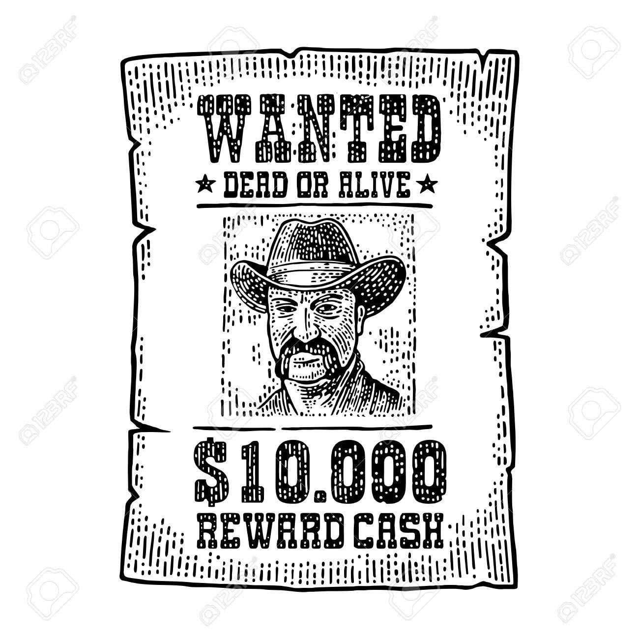 Cartel Deseado Con Hombre Con Sombrero. Estilo Del Salvaje Oeste ...