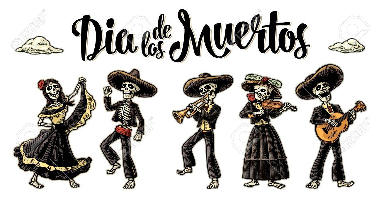The skeleton in Mexican national costumes Stock Vector - 87851001  sc 1 st  123RF.com & Dia De Los Muertos. The Skeleton In Mexican National Costumes ...