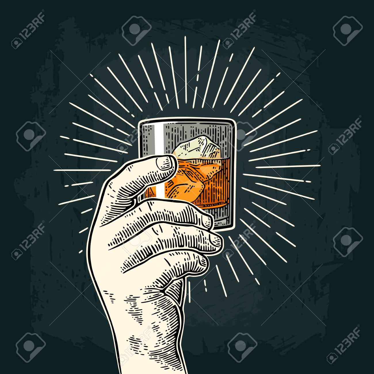 Male hand holding glass whiskey with ray. Vintage vector engraving - 88596656