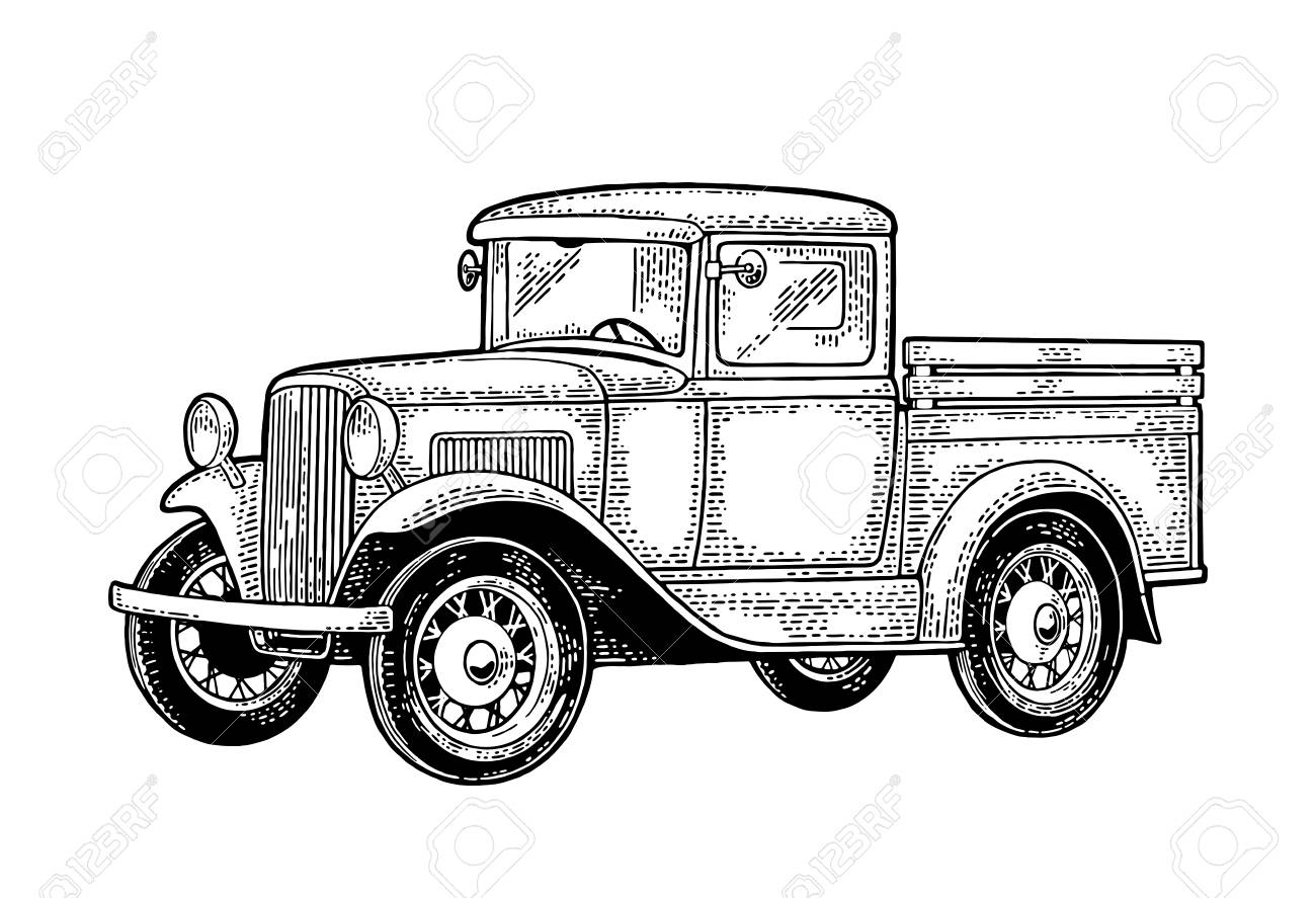 Retro Pickup Truck Side View Vintage Black Engraving Royalty Free Cliparts Vectors And Stock Illustration Image 90545256