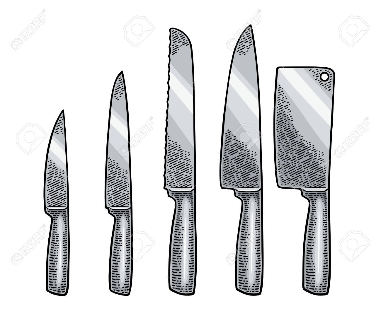 Definissez Les Couteaux De Cuisine Et Le Hachoir A Viande Manuel Gravure De Vecteur