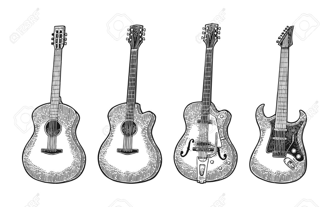 Acoustic And Electric Guitar Vintage Vector Black Engraving