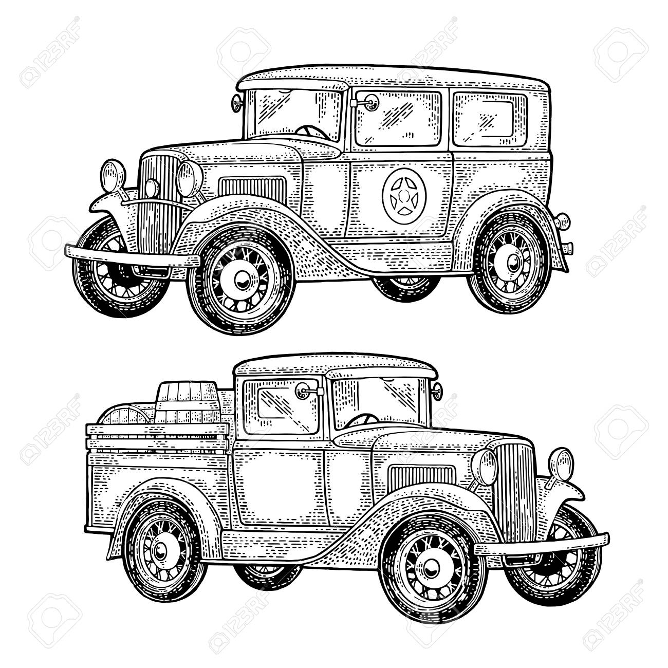 Retro Police Car Sedan With Sheriff Star And Pickup Truck With