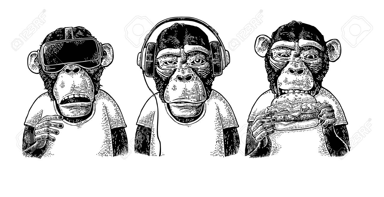 Three wise monkeys in headphones, virtual reality headset, and burger. Not see, not hear, not speak. Vintage black engraving illustration for poster. Isolated on white background. - 93895484