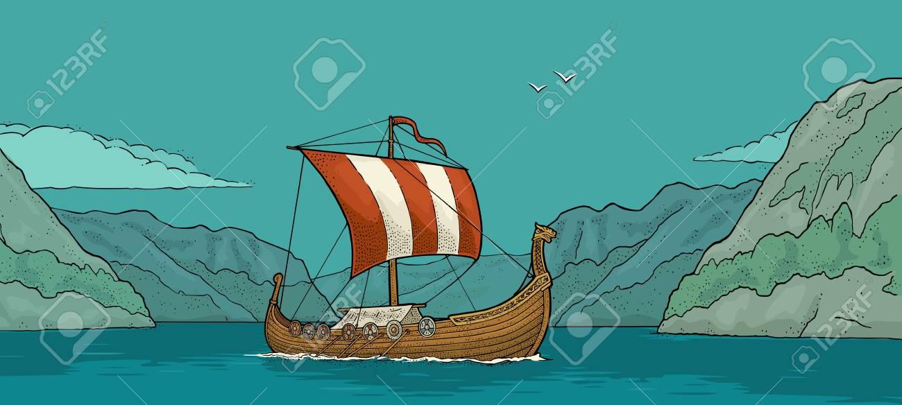 Drakkar floating on the fjord in Norway. Hand drawn design element sailing ship. Vintage color vector engraving illustration for poster, label, postmark. - 96125742