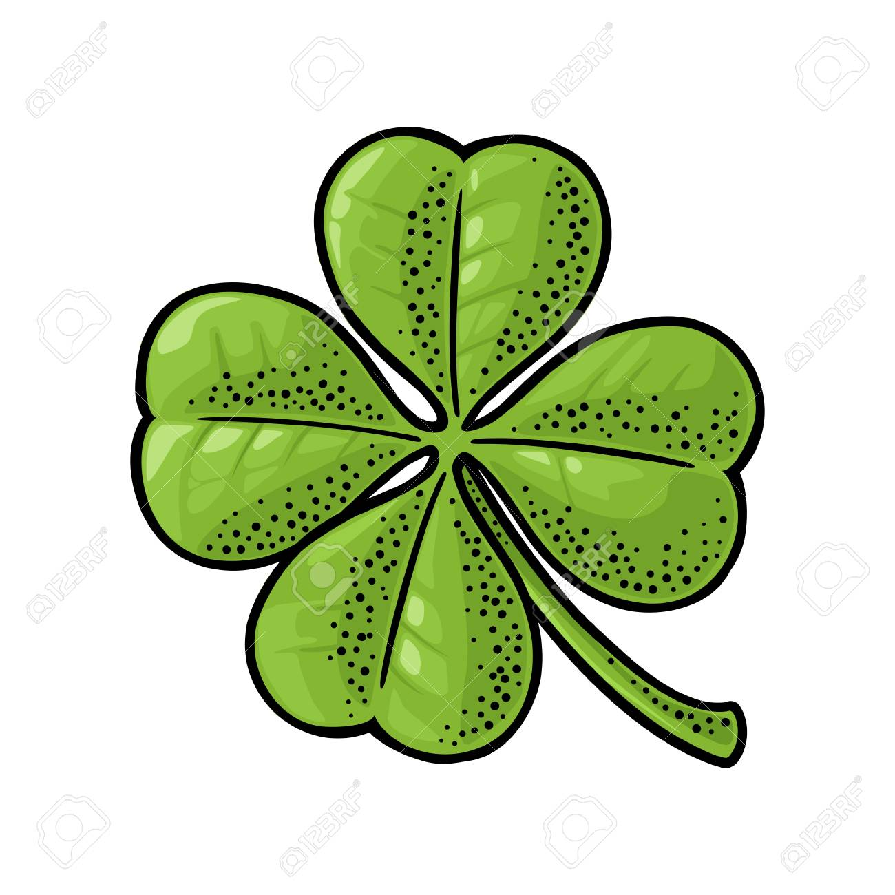 Good Luck Four Leaf Clover Vintage Color Vector Engraving Illustration Isolated On White Background
