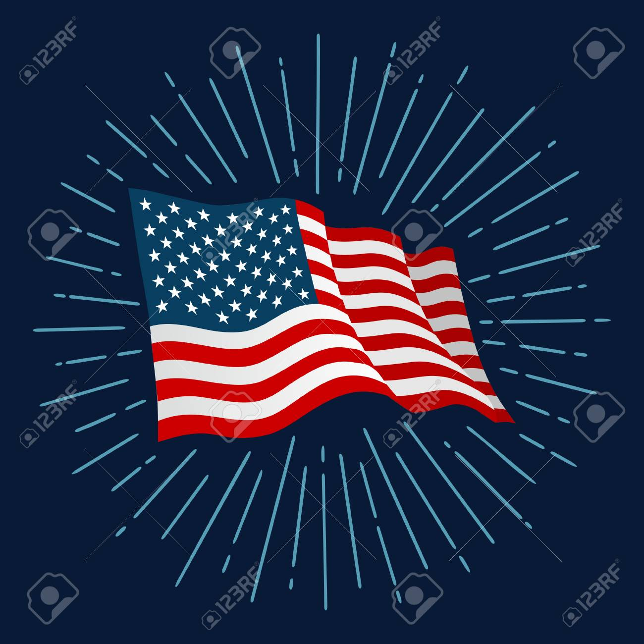 cd09a438a18 Firework and american flag for banner independence day. Stock Vector -  98266103
