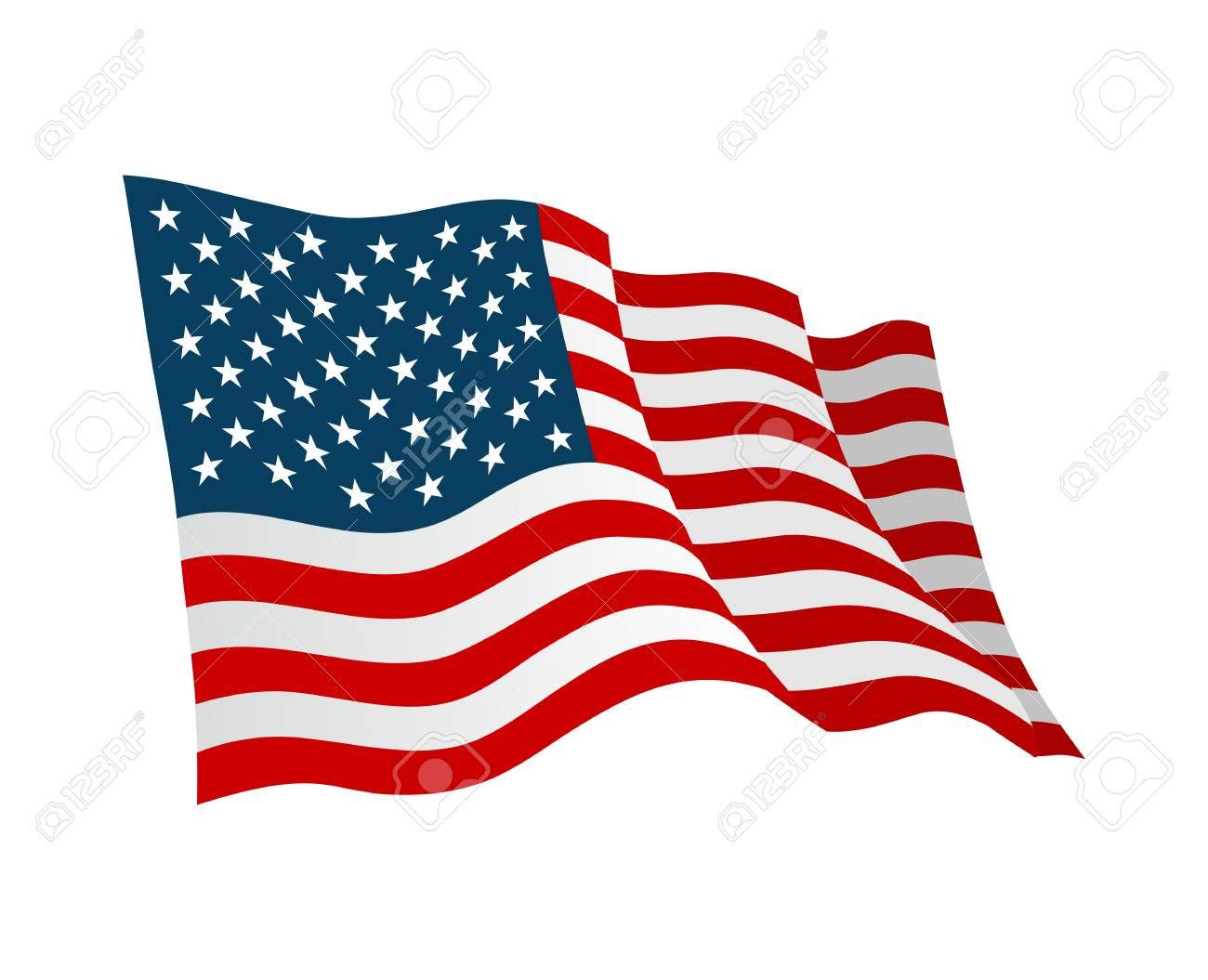 American Flag Vector Flat Color Illustration Isolated On White