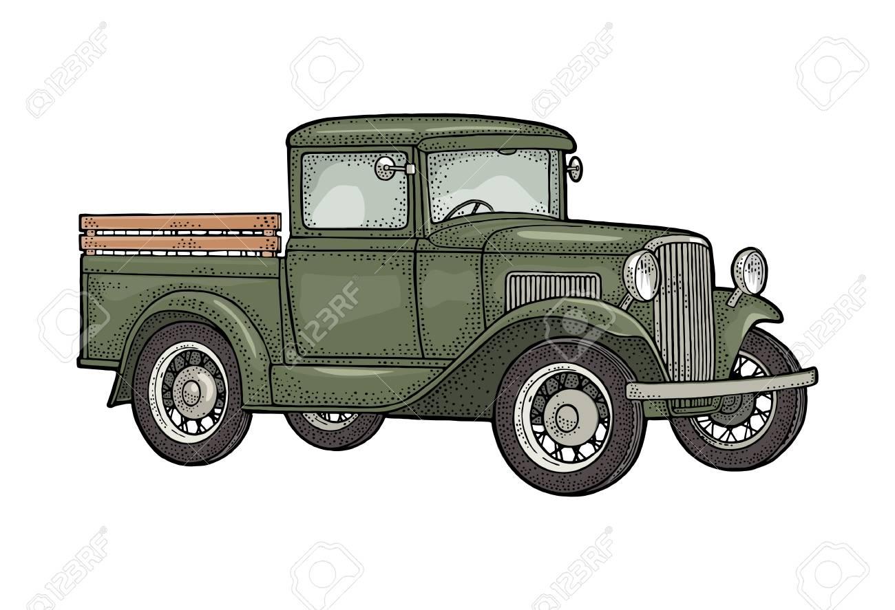 Retro pickup truck. Side view. Vintage black engraving - 105230797