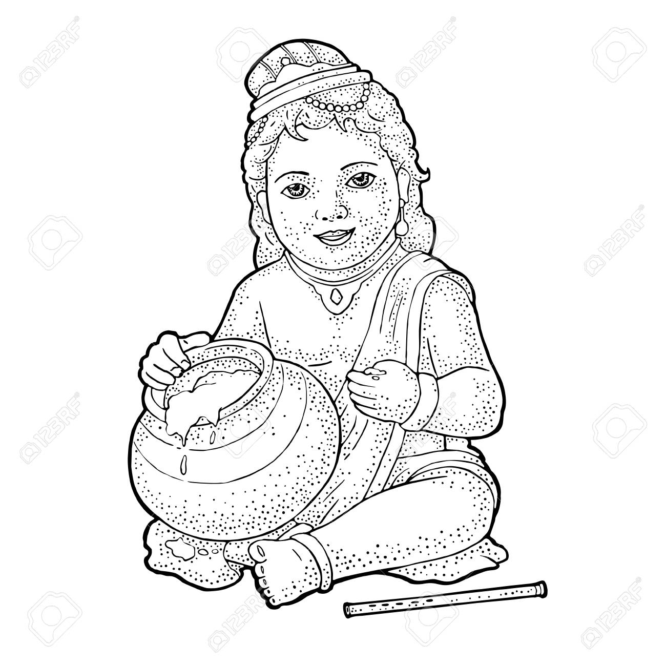 Sitting Lord Krishna With Pot And Flute For Poster Happy Janmashtami Royalty Free Cliparts Vectors And Stock Illustration Image 104652903