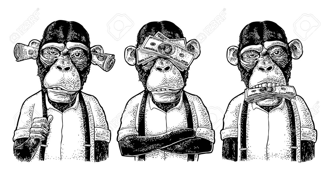 Three wise monkeys with money on ears, eyes, mouth. Not see, not hear, not speak. Vintage black engraving illustration for poster, web, t-shirt, tattoo. Isolated on white background - 105924695