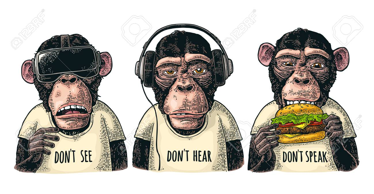 Three wise monkeys in headphones, virtual reality headset,and burger. Not see, not hear, not speak. Vintage color engraving illustration for poster. Isolated on white background - 111849600