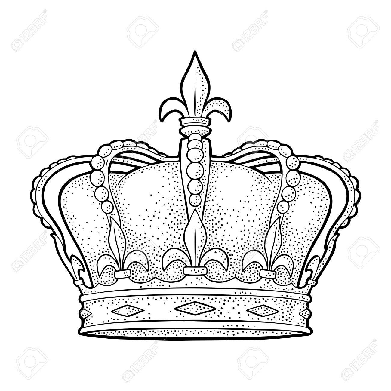 quality design 5b44c c3c7e King crown. Engraving vintage vector black illustration. Isolated on white  Stock Illustration - 107649782