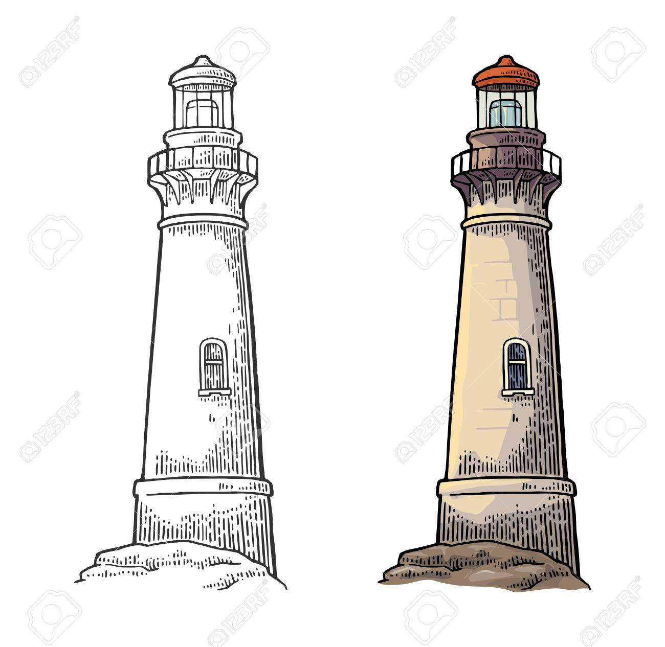 Lighthouse isolated on white background. Vector color vintage engraving illustration. - 110259384