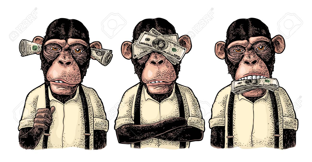 Three wise monkeys with money on ears, eyes, mouth. Not see, not hear, not speak. Vintage color engraving illustration for poster, web, t-shirt, tattoo. Isolated on white background - 108014135