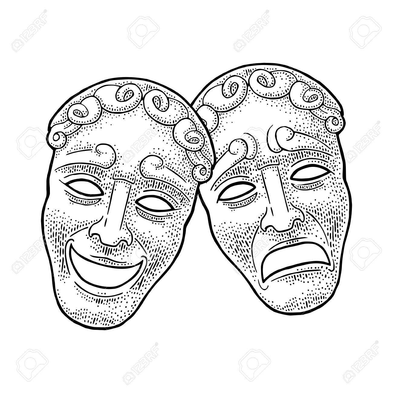 Comedy and tragedy theater masks. Vector engraving vintage black illustration - 108318124