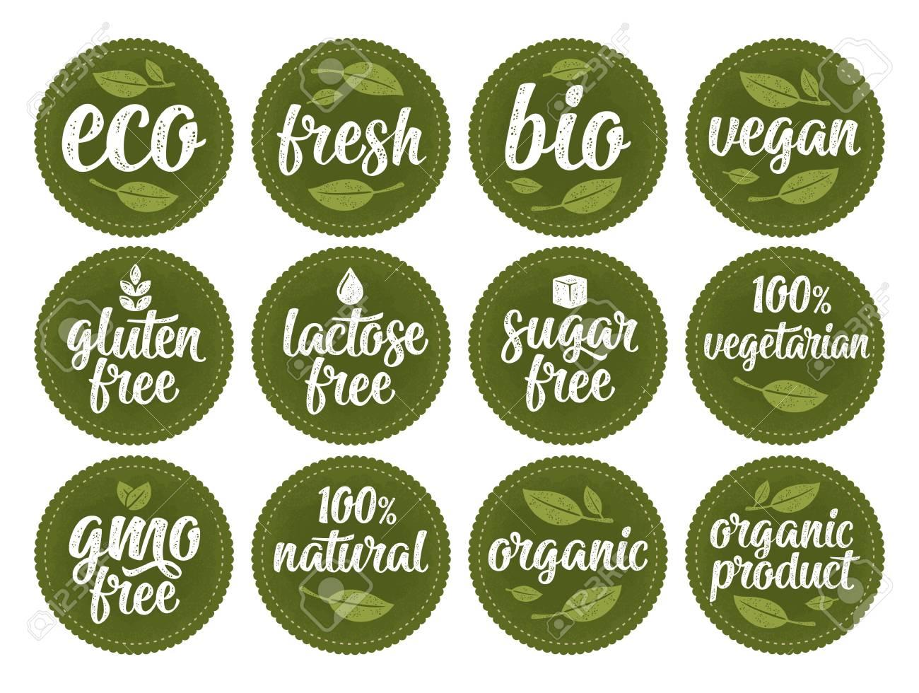 Gluten, lactose, sugar, gmo free lettering. Sign 100% organic food - 112627881
