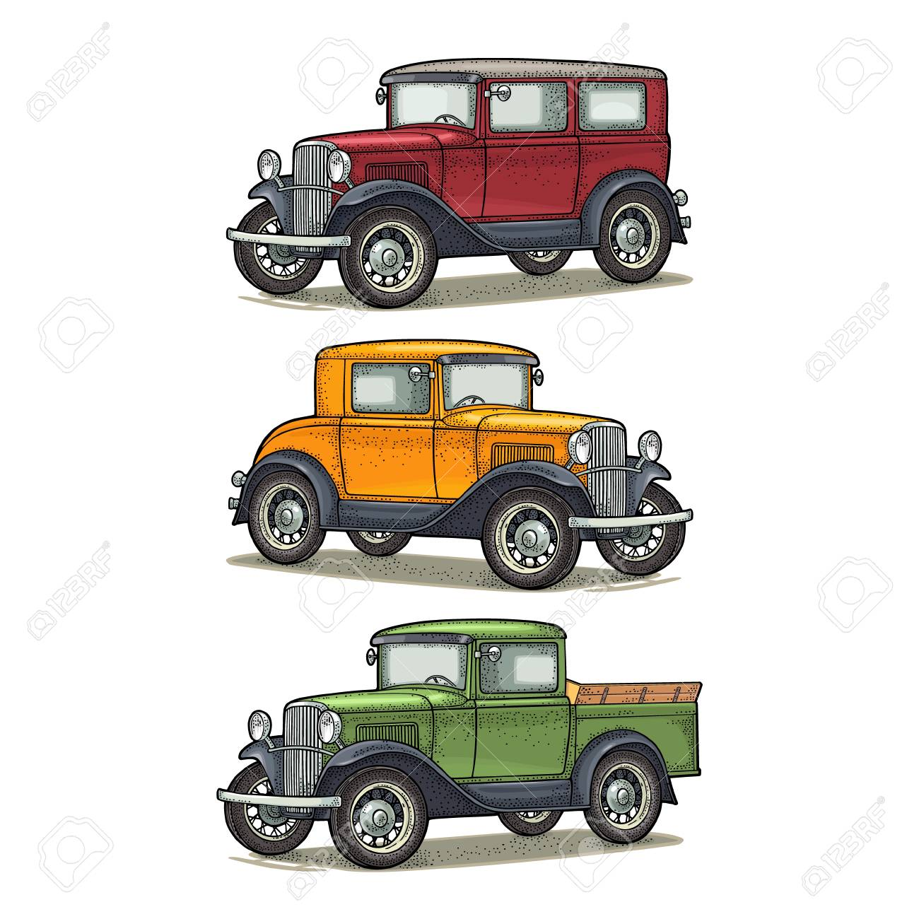 Retro Car Sedan Coupe And Pickup Truck Side View Vintage Color Royalty Free Cliparts Vectors And Stock Illustration Image 127343590