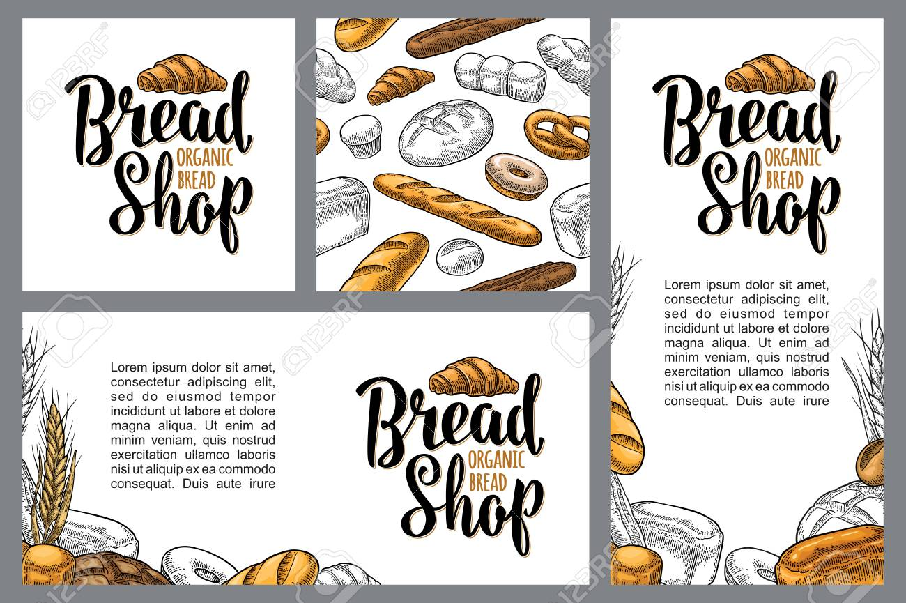 Set horizontal, vertical and square posters for bread organic