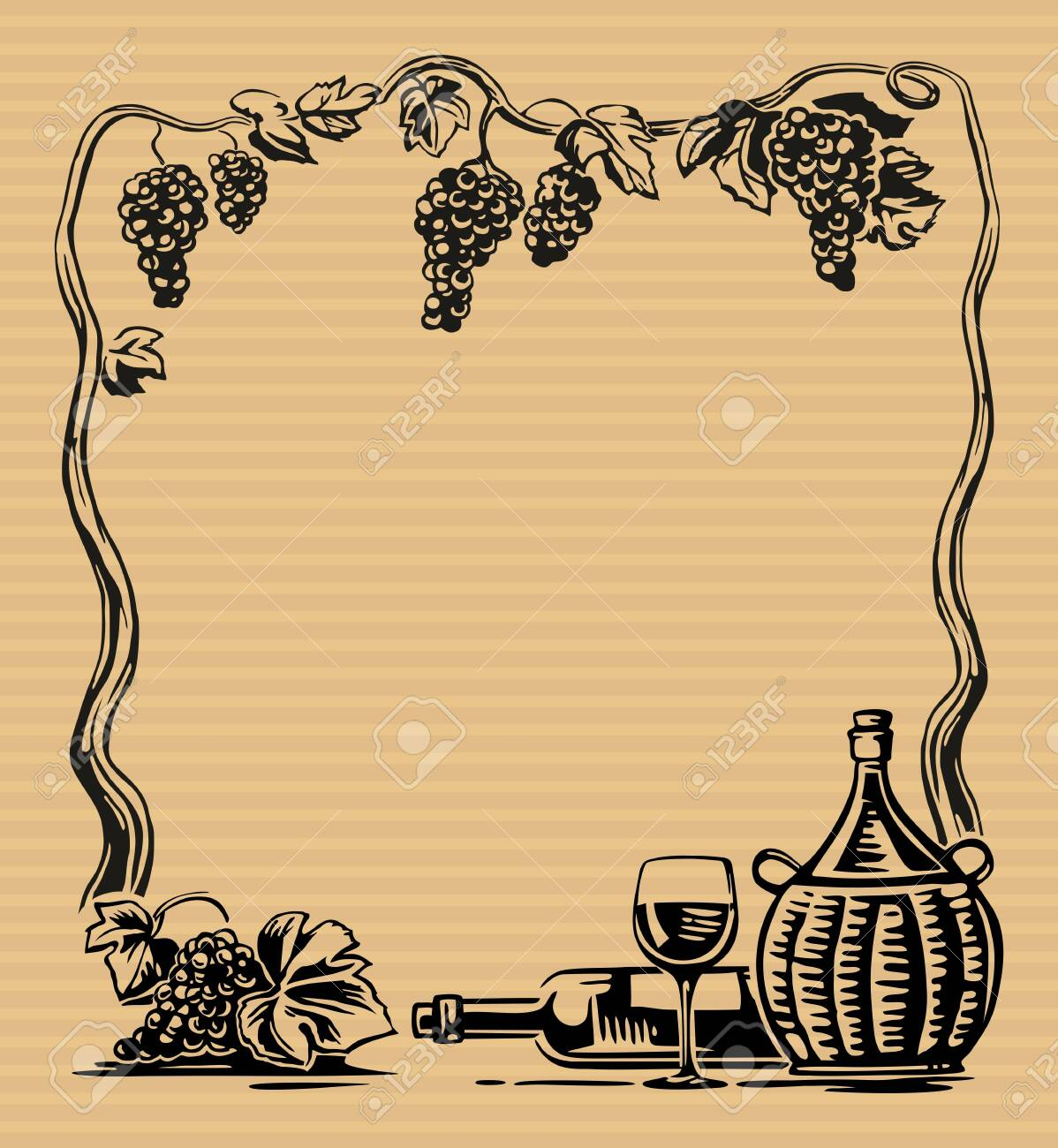 Rural landscape with villa and vineyard fields. Bunch of grapes, a bottle, a glass and a jug of wine. Vintage engraving - 131787404