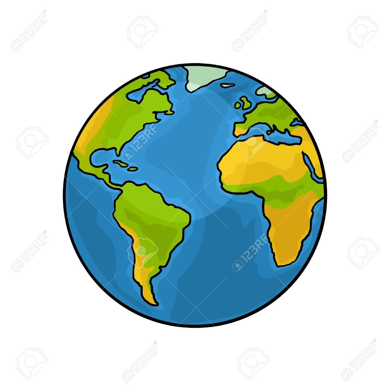 Earth planet. Vector color vintage engraving illustration - 145822588