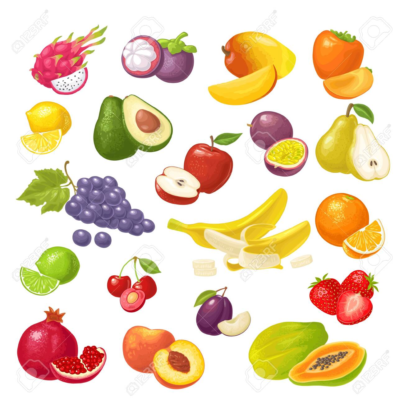Set tropical fruits. Vector color flat illustration isolated on white - 157488042
