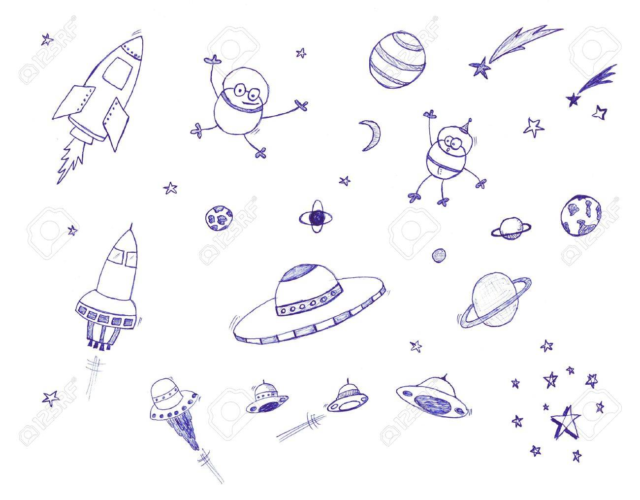 Space themed icon set.  Isolated against a white background. Stock Photo - 4839294