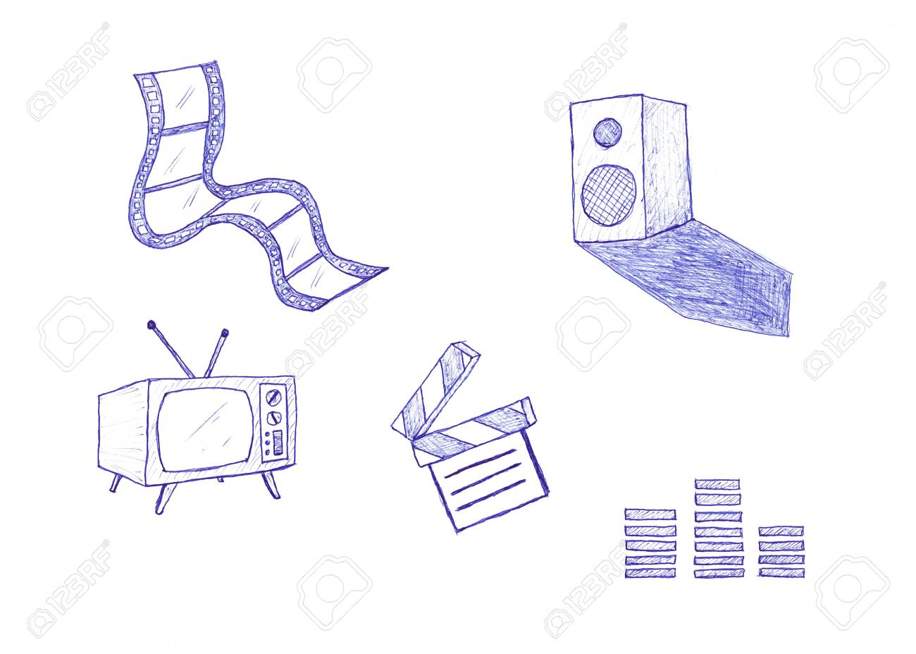 An illustrated set of icons related to films and movies, isolated on white background. Stock Photo - 4839290
