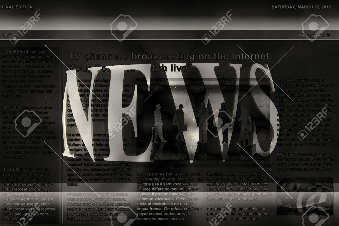 An Illustrated Background With A NEWS Banner Template For A News ...