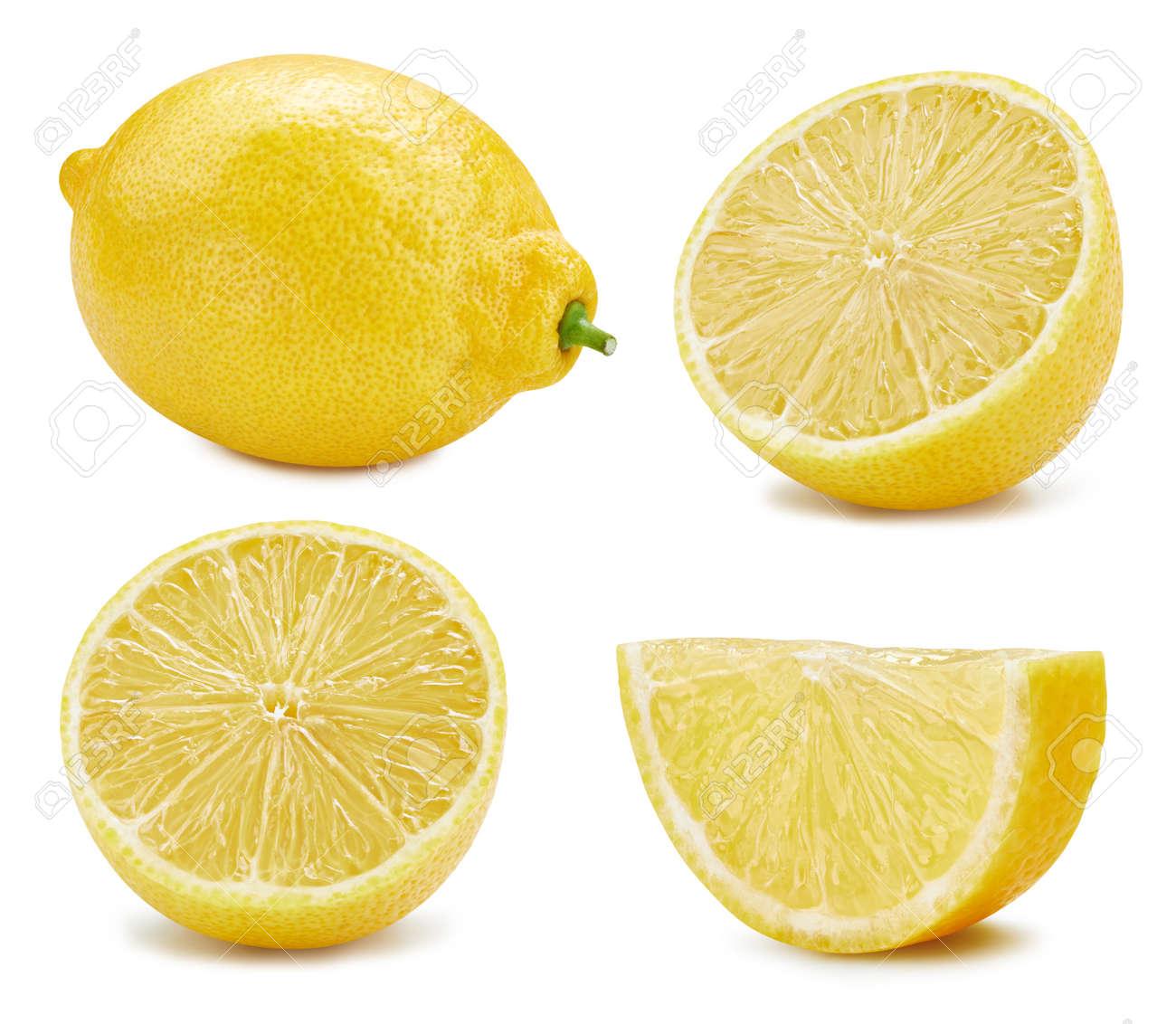 Lemon collection Clipping Path. Lemon isolated on white background. Big set fresh lemon fruits. - 165076848