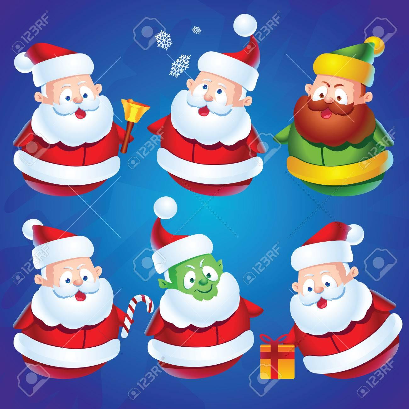 Dibujos Animados Lindo Personajes De Santa Claus Establecidos Para