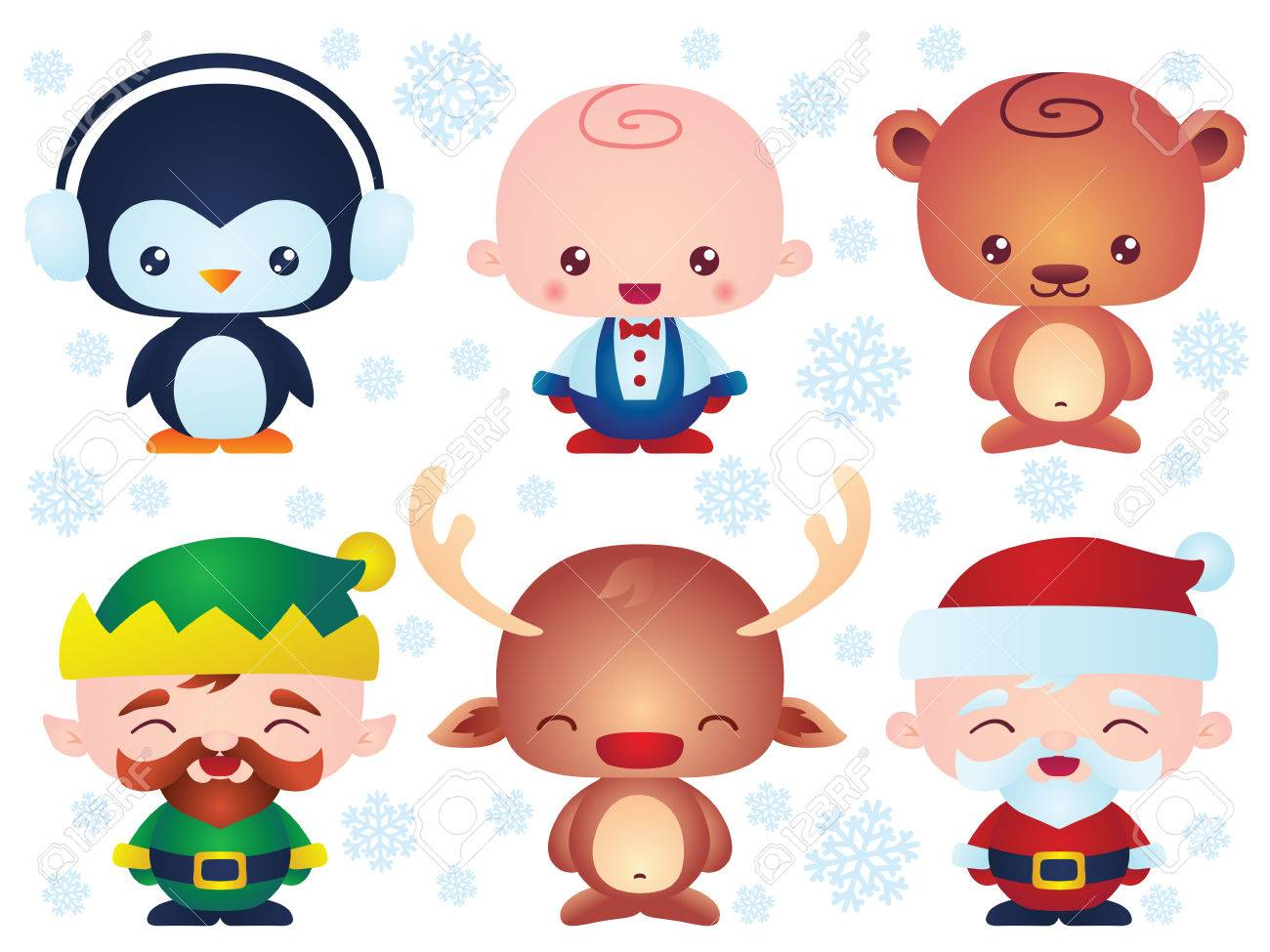 Set Of Cute Christmas Baby Characters. Contain Happy Little Vector ...