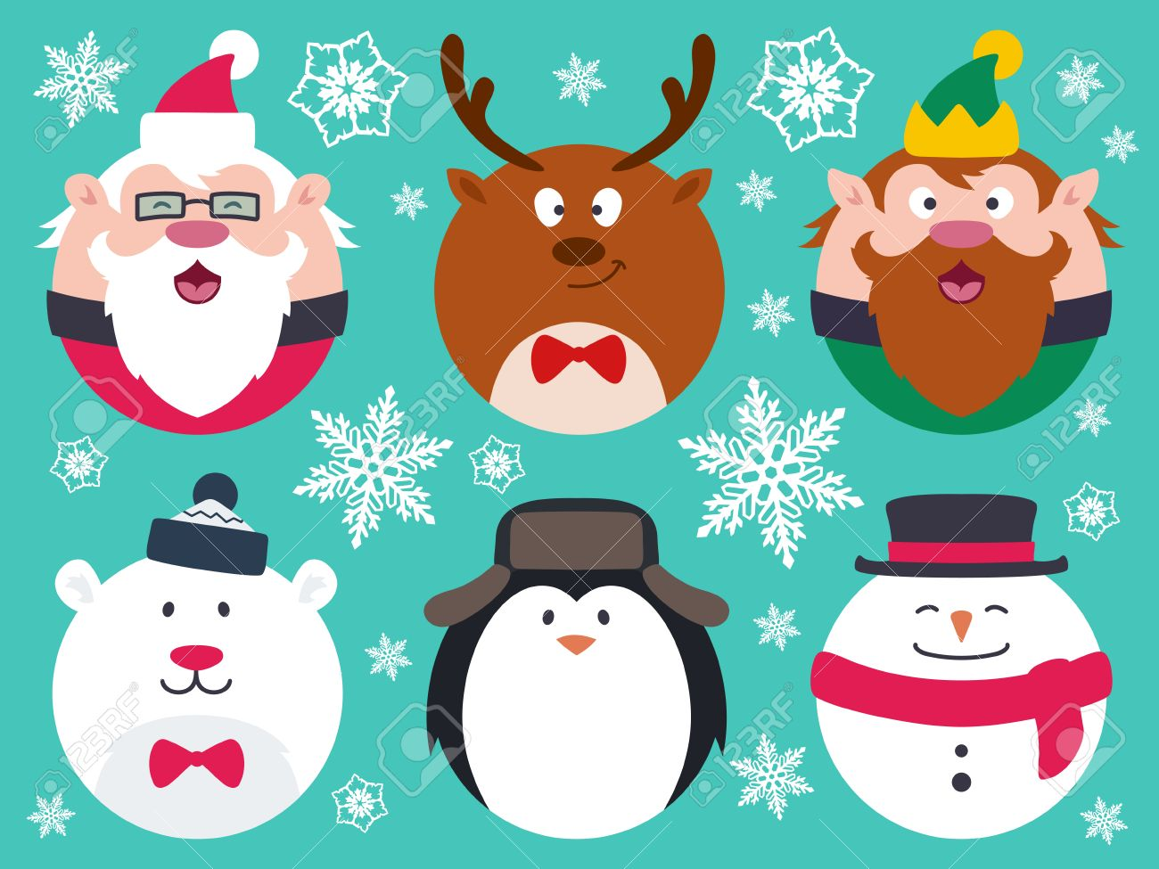 set of round flat christmas characters contain cute fat vector