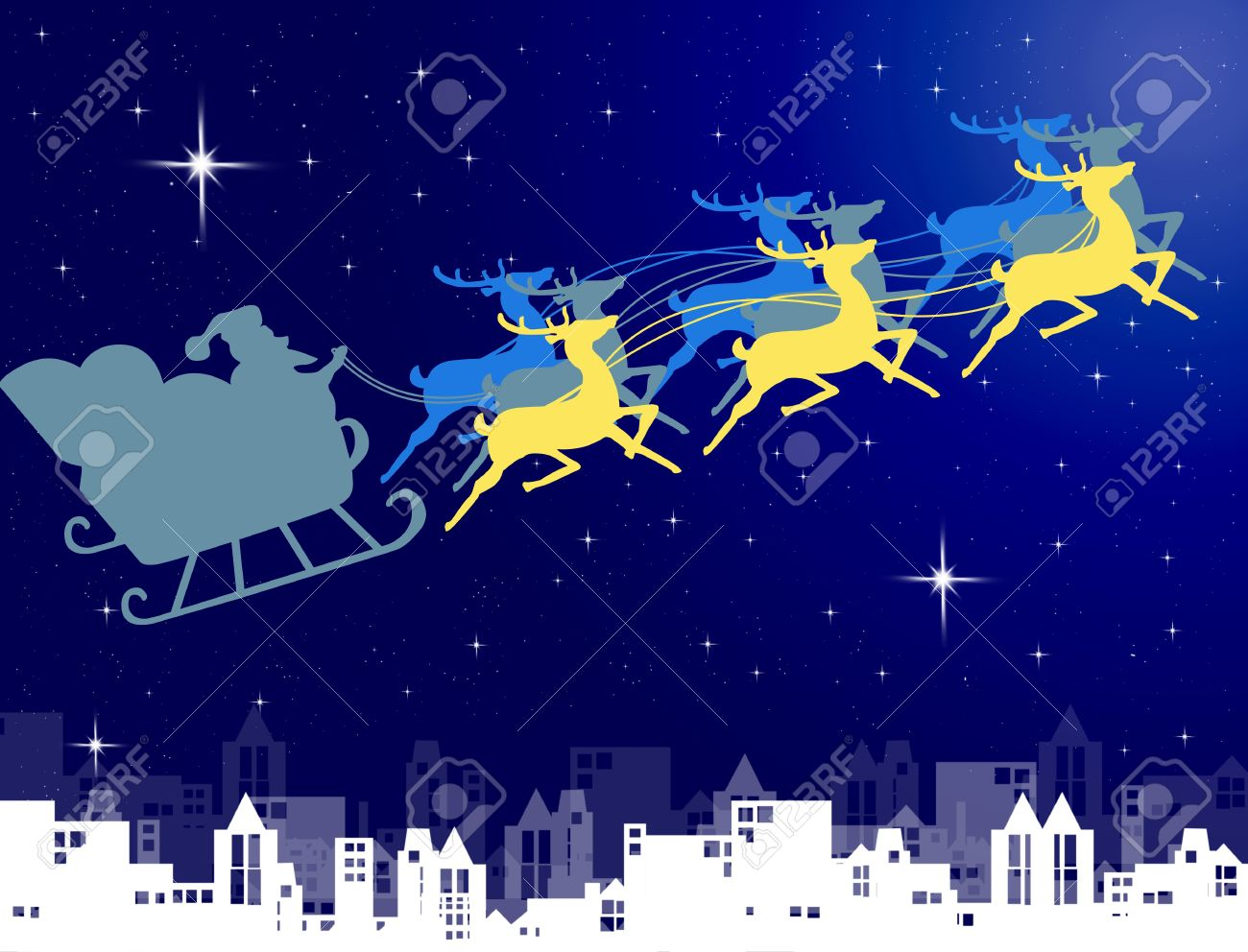 Santa Claus in his sleigh with night sky over the city background, Christmas concept Stock Photo - 11036963