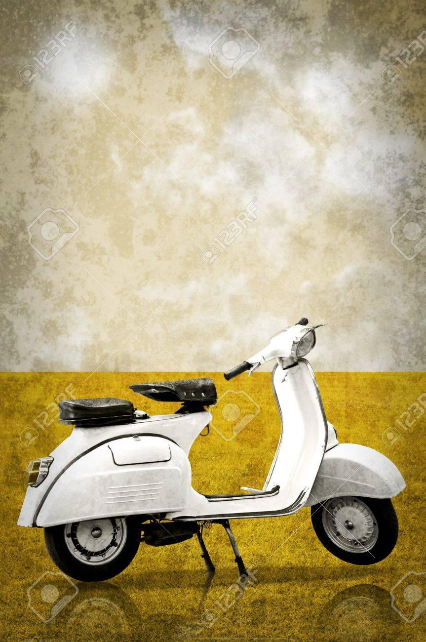 White Retro Vespa In Retro Style Background Stock Photo Picture And Royalty Free Image Image 11375172