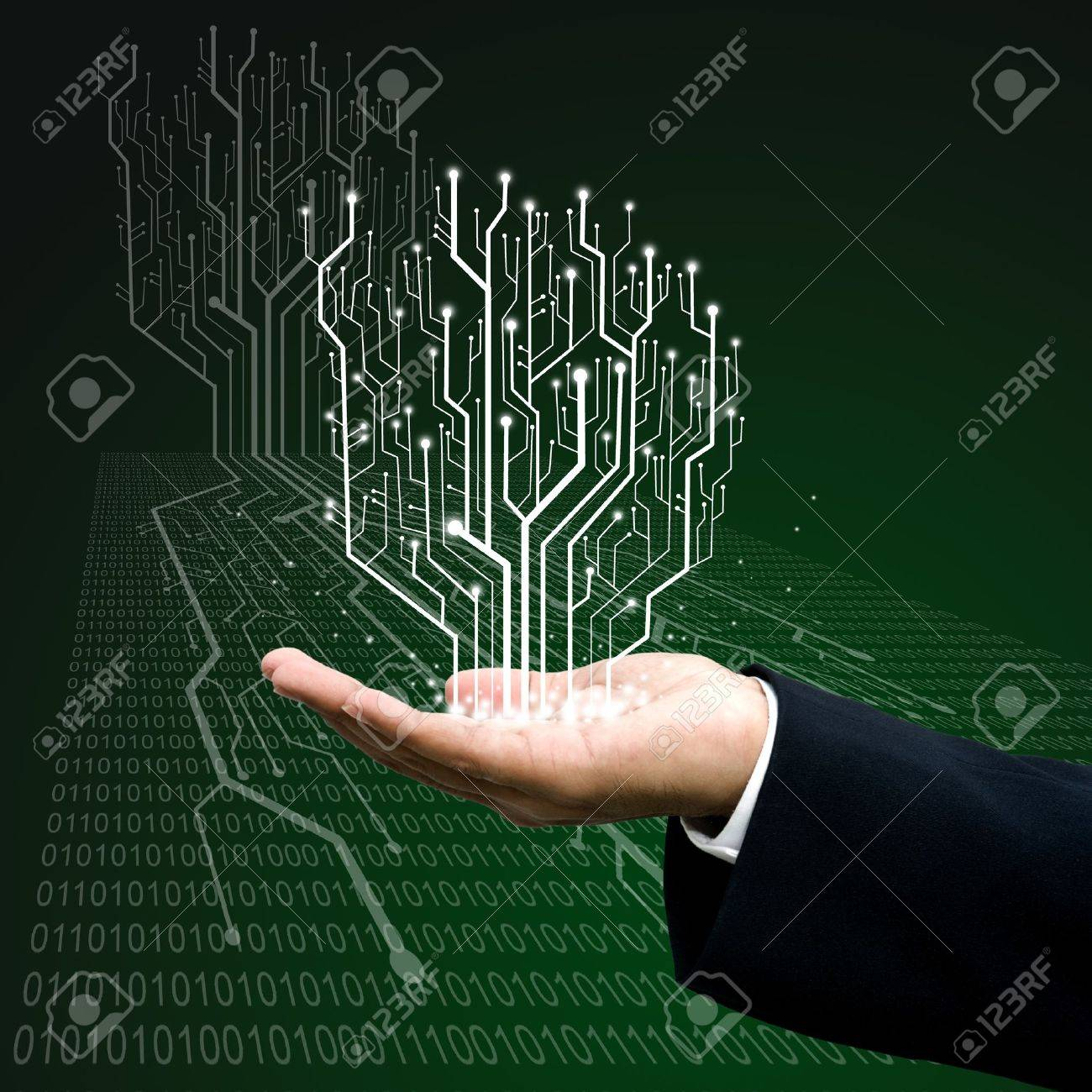 Circuit Board Graphic Line On Hand ,Technology Background Stock ...