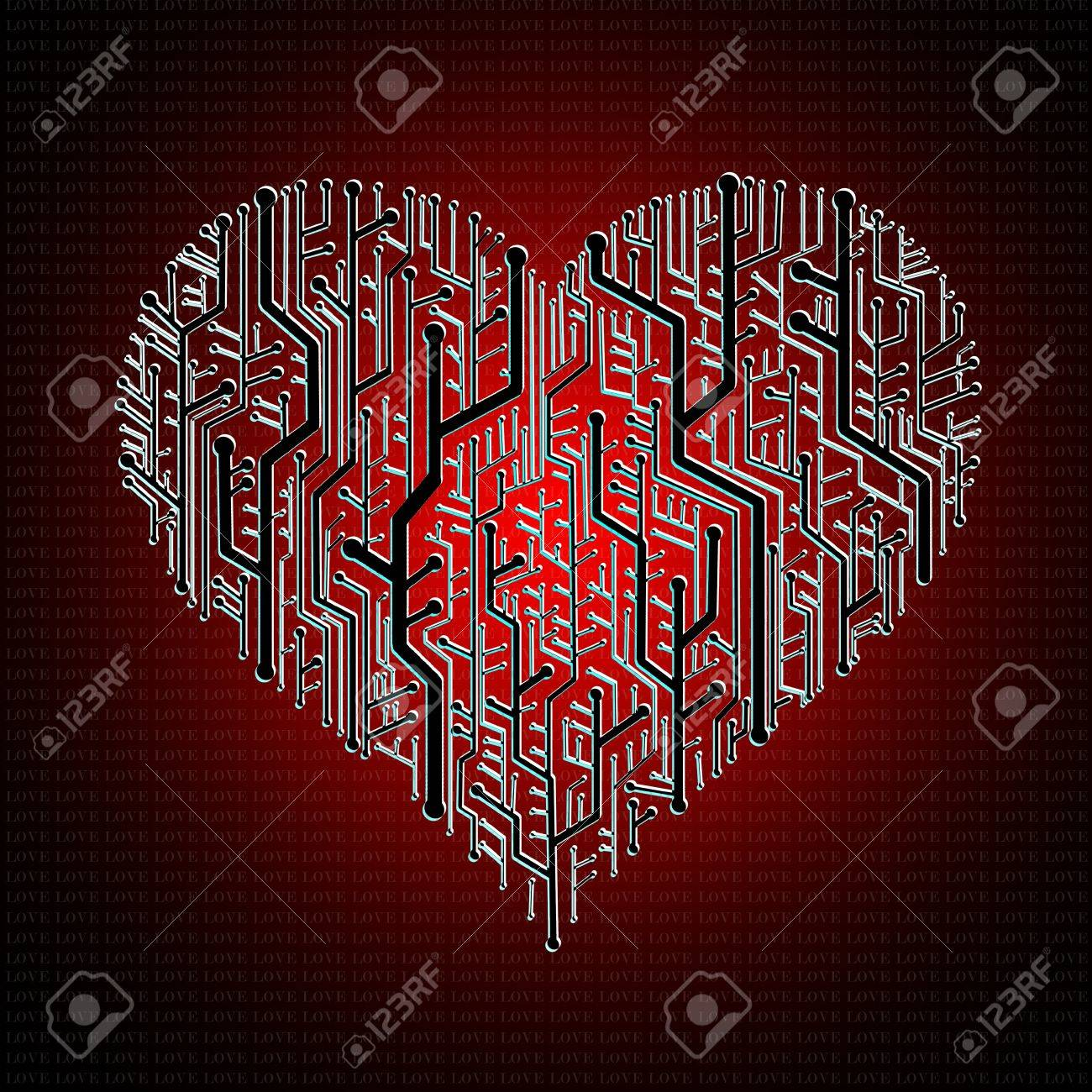 Circuit board in Heart shape with pattern on ground Stock Photo - 11798250