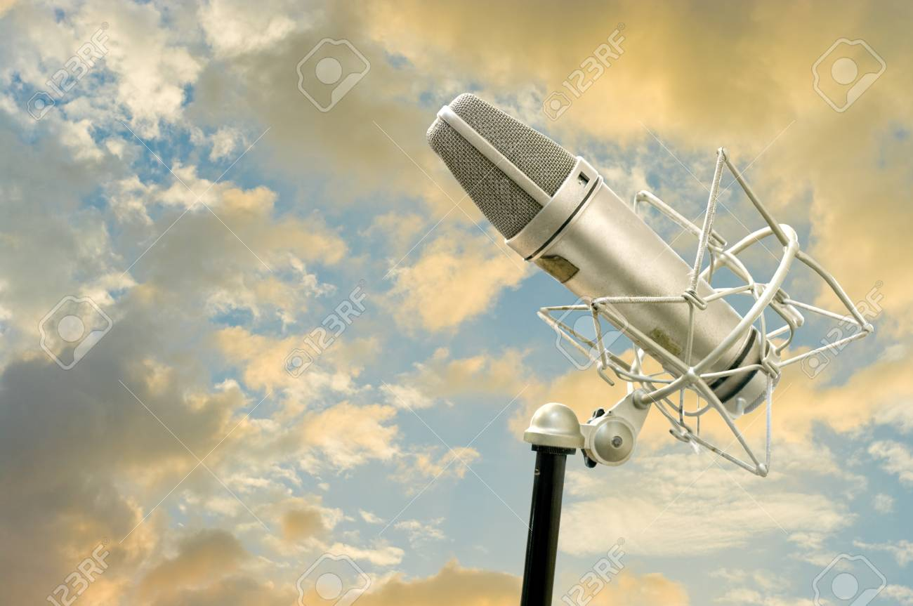 Microphone with nice sky background Stock Photo - 11812213