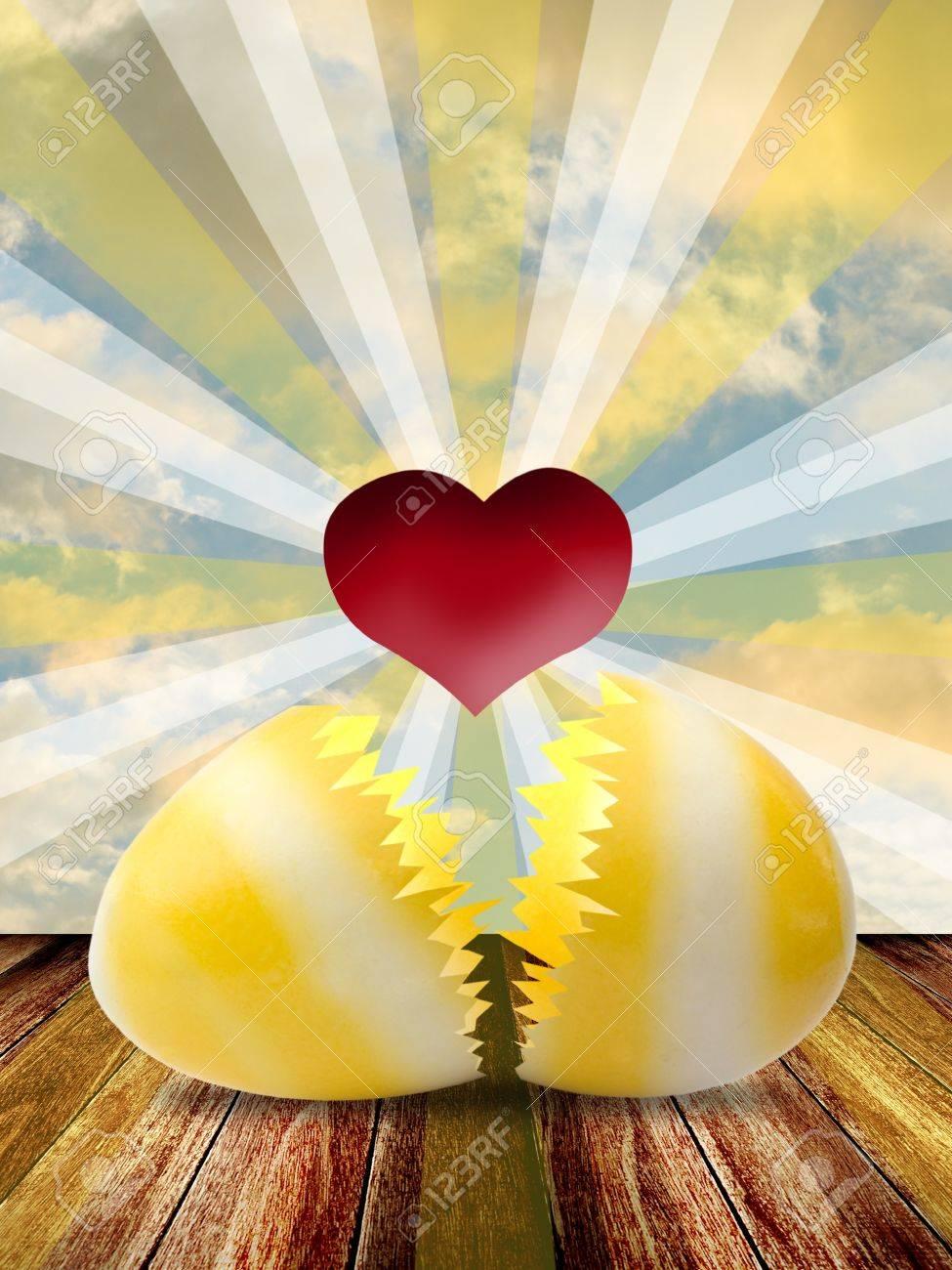 Red heart inside easter egg with lighting shine Stock Photo - 12934507