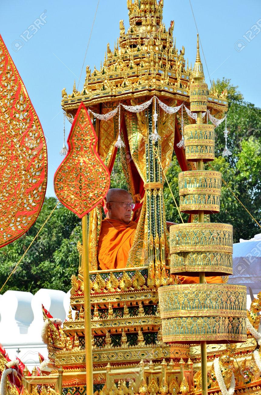 Bangkok, Thailand - April 9 : The royal Patriarch in the Racharot Noi  on April 9, 2012  in The Royal Funeral of HRH Princess Bejaratana Rajasuda of Thailand Stock Photo - 13118818